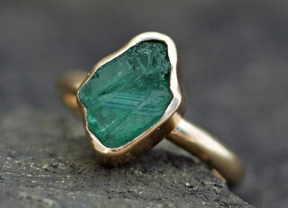 Rough Emerald in 18k Gold Ring- Custom Made