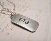 143 Necklace. I Love You. Secret Message. Code. Minimal.Hidden Meaning