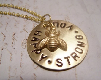 Bee Happy. Bee Strong. Bee You Necklace. Positive Thoughts. Encouragement.