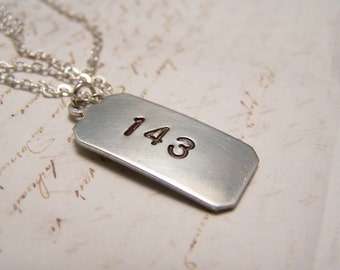 143 Necklace. I Love You. Secret Message. Code. Minimal.Hidden Meaning