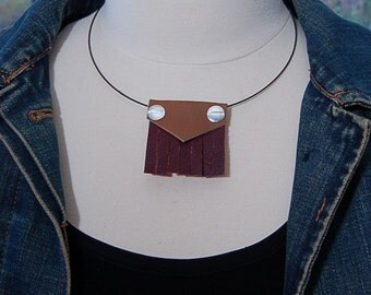 Geometric Upcycled Leather Necklace