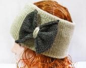 Ear Warmer- Knit Headband with Bow, Head Muff, Knitted Headband