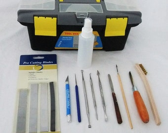 Deluxe Precious Metal Clay PMC Tool Kit 12 Pieces Including Tool Box