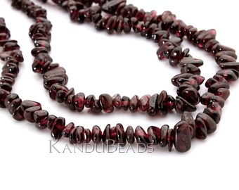 "Garnet Deep Red, Small Chip Beads  4-8mm  LONG 34"" strand"