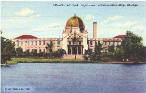 Vintage Chicago Postcard - Garfield Park Lagoon and Fieldhouse (Unused)