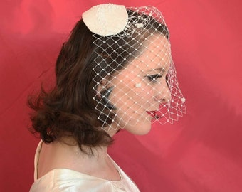 Juliet cap - 50's style wedding headpeace- veiled wedding hat