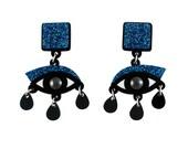 Eyes drop earrings in blue glitter perspex