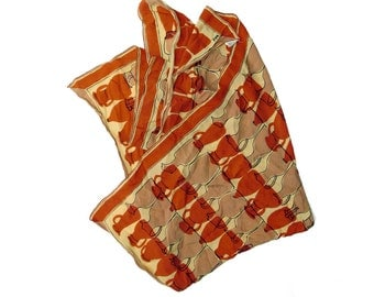 Vintage Vera Neumann Silk Scarf Rust Orange Brown Vases Jugs Mid Century Fashion SALE