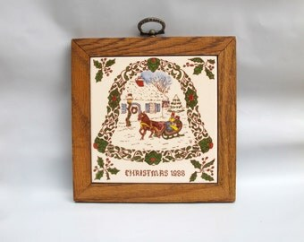 Christmas Tile 1988 Heritage Tile Company Sonora California Wood Framed Painted Winter Scene