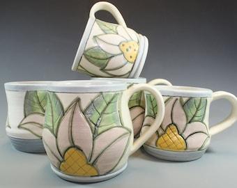 Handmade Pottery Mugs, Coffee Mugs, Handpainted, Soft Pink and Blue Pastel Mugs, Stoneware clay- SKU138-1