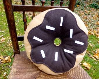 Chocolate Donut Plush, Unique Pillow, Novelty Pillow