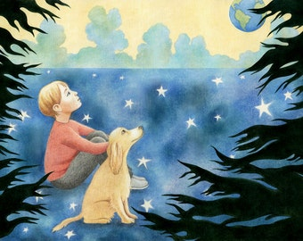 "Childhood Art Print, limited edition - ""In the Field of Stars"""