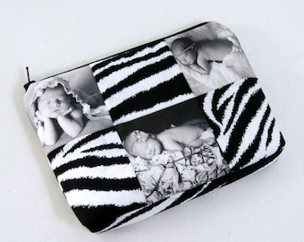 Cosmetic Makeup Bag Pouch Photo Picture Custom Gift Black and White choice of fabric