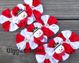 Set of THReE Embellished Satin CLuSTeR Flowers- HaPPY SNoWMaN- 4 inch Size