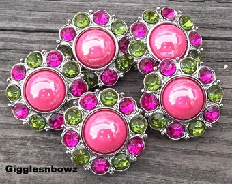 NEW Set of 5- SHiNY HoT PiNK Pearl with LiME GReeN and SHoCKiNG Pink Rhinestone Buttons 25mm