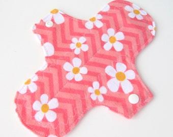 1 Flannel Pantyliners Optional PUL - Chevron and Daisies - Light Days Liner  Feminine Hygiene - Washable Mini Pad - Reusable Mama Cloth