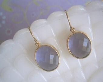 Clearance Sale, Jewelry Sale, Amethyst Earrings, Oval Glass, Purple Earrings, Gold Earrings, Bridesmaid Earrings, Best Friend Birthday