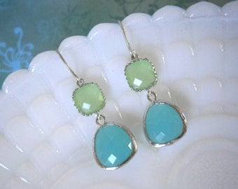Grayed Jade, Mint Aqua Earrings, Fluorite Green Earrings, Wife Gift, Christmas Gift, Holiday Gift