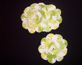 Set Of 4 Green And White Coasters