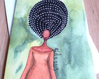African American/Afro Caribbean Greeting Card - 'Self Awareness'