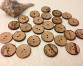 Coconut buttons wholesale, 100 pcs, 23 mm, natural coconut shell, coconut wood, brown, beige, 7/8 inches - A029