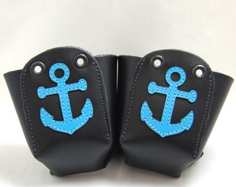 Leather Toe Guards with Blue Anchors