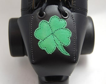 Black Leather Toe Guards with Green Shamrocks