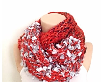 Finger Knit Infinity Eternity Scarf Noodle Long Scarves Cotton Fashion Neckwarmer Circle Necklace Chunky Cowl Tangerine Orange Silver