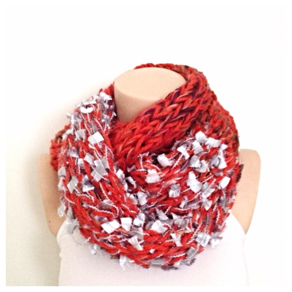 finger knit infinity eternity scarf noodle scarves cotton