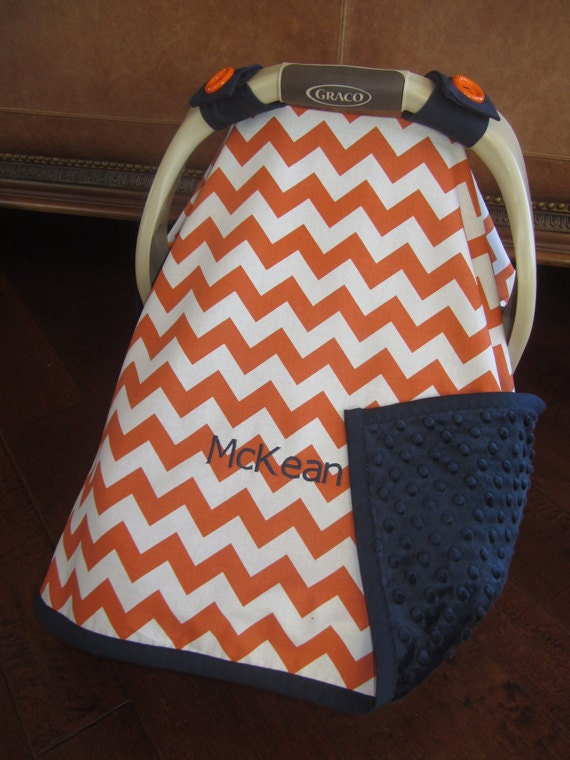 items similar to super cute baby car seat covers chevron in orange white with navy minky on etsy. Black Bedroom Furniture Sets. Home Design Ideas