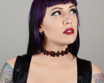 Gothic Jewelry Stitches choker necklace - Dark Red  Extreme stitch