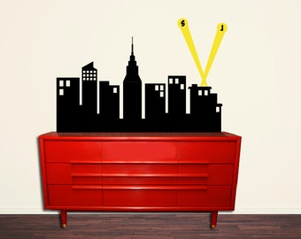 "Super Hero City Skyline - Children Nursery - 40"" wide - Boys Wall Decals - Personalized Wall Decals - Superhero Boys Room Decor"