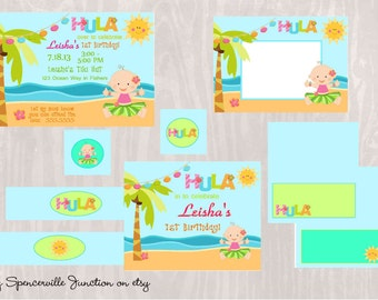 Digital Luau 1st Birthday Pool Party Invitation with Printable Party Pack DIY