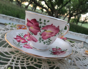 Vintage Teacup Tea Cup and Saucer Pink Flowers English Bone China