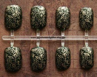 Ren Faire Nail Art. Medieval Tapestry Gothic Nail Art, Choose Your Favorite Color, Fake False Nails, Vampire Fake Nails, Nail Art, Gothic
