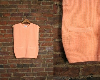 Vintage Cantalope Orange Pastel Ribbed Knit Top Spring Shirt Sleeveless Sweater (M)