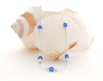 Sterling Silver Chain w/Sapphire Swarovski Beads