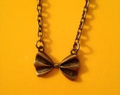 Bronze Toned Bow Ribbon Necklace 18in Chain