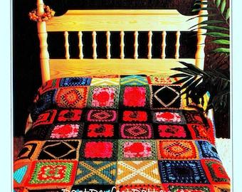 INSTANT DOWNLOAD PDF Vintage Crochet Pattern  for Granny Square  Afghan Throw Blanket Sampler Mosaic  Retro
