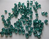 Green Glass Crystal Bicone Beads - 100 Pieces - 4mm