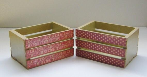 Primitive Mini Wooden Storage Crates - Set of 2 - Olde Time Candy Shoppe - planter boxes, wooden crates
