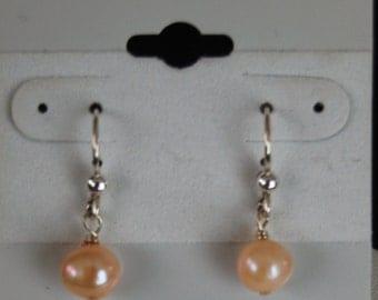 New - Peach Pearl Earrings