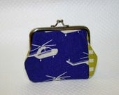 Coin Purse - Blue Coin purse - Blue Helicopter Change Purse - Helipcopter Coin Purse