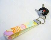 Wristlet Key Fob Amy Butler Fabric Keyring Keychain Midwest Modern Fresh Poppies Floral Ivory Pink Orange