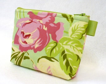 Bridesmaid Cosmetic Bag Mint Pink Floral, Amy Butler Fabric, Gadget Pouch, Makeup Bag, Cotton Zip Pouch, Temple Flowers Tulip Roses MTO
