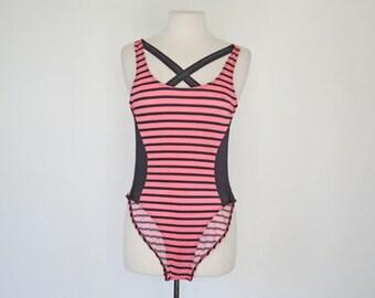 DANCERCIZE //  pink striped 1980s cross back swimsuit XS / S