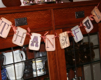 THANKFUL, Thanksgiving Banner with rhinestones