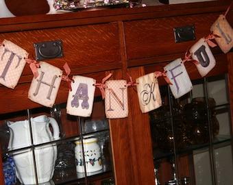 THANKFUL, Thanksgiving Banner with rhinestones