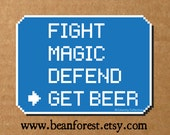 fight magic defend get beer - gamer gift gaming sticker laptop decal video game playstation final fantasy decal rpg persona 4 jrpg dota 2 featured image