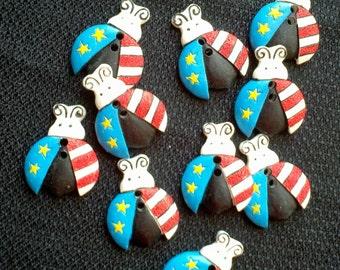 Patriotic Liberty Lady Bug Buttons - 1 inch X YOU PICK QUANTITY - 10 thru 400